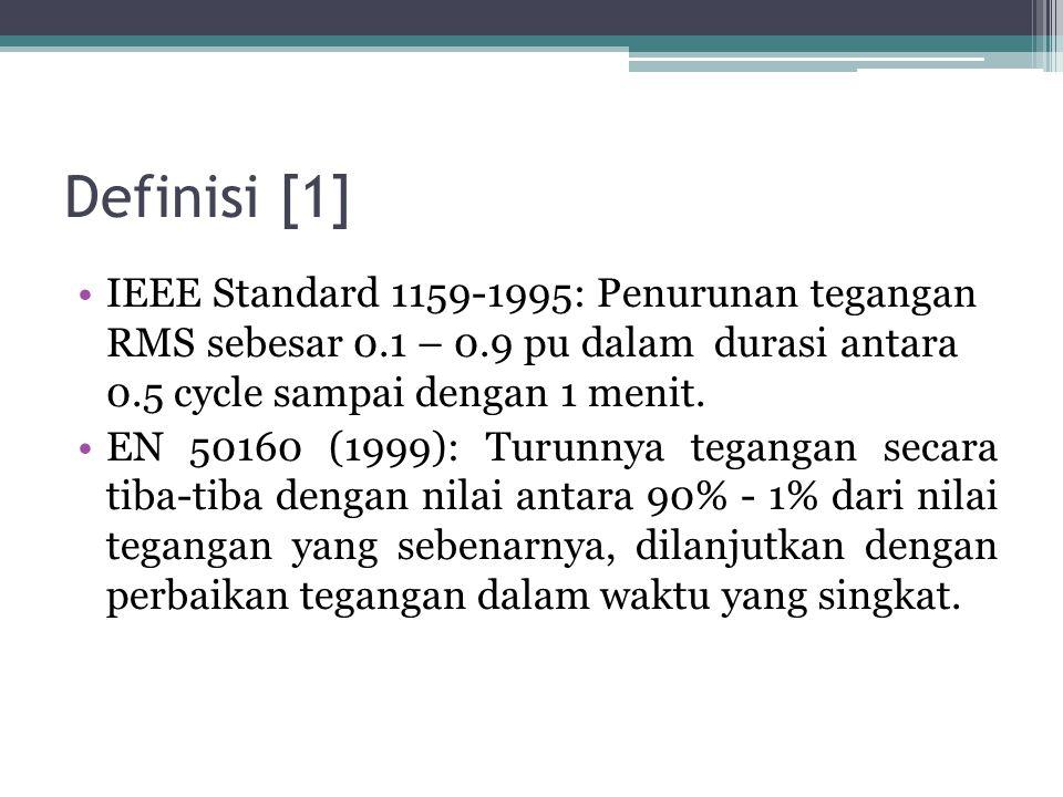Definisi [1] IEEE Standard 1159-1995: Penurunan tegangan RMS sebesar 0.1 – 0.9 pu dalam durasi antara 0.5 cycle sampai dengan 1 menit.